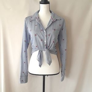 IZOD Stripe and Flower Button Down Blouse, NWOT